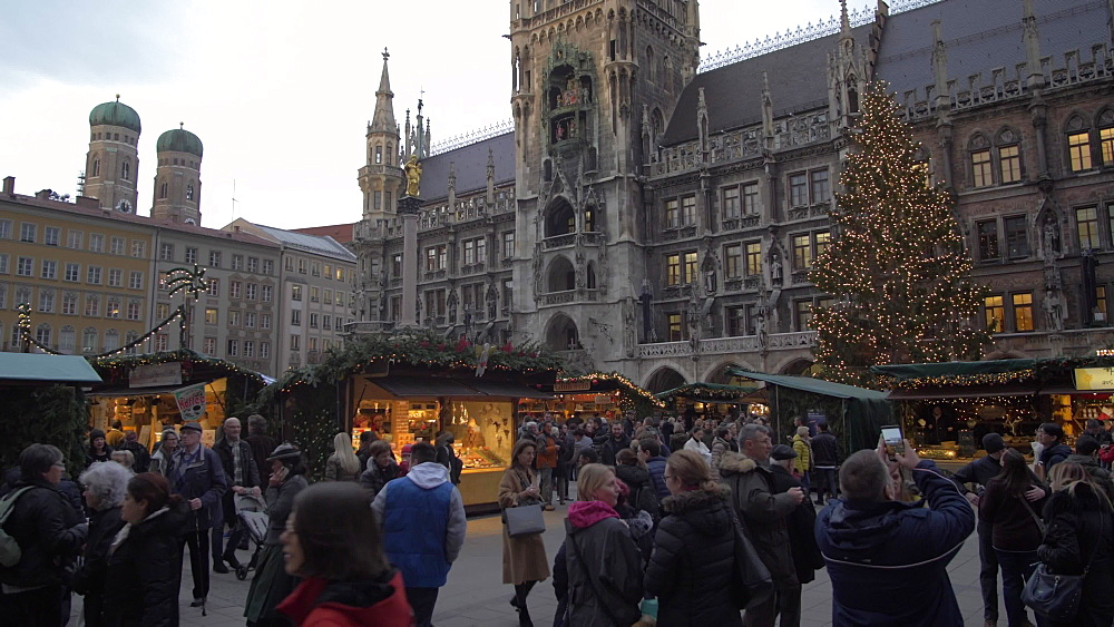 Christmas Market in Marienplatz at dusk, Munich, Bavaria, Germany, Europe
