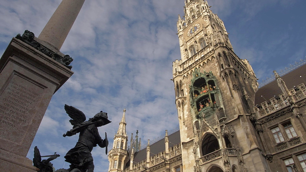 Glockenspiel and New Town Hall on sunny day, Munich, Bavaria, Germany, Europe