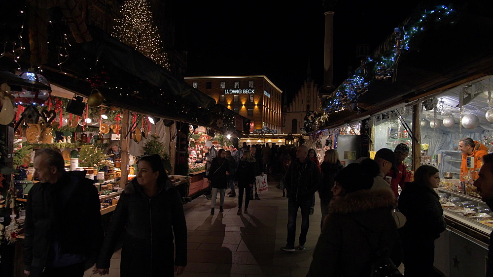 Busy Christmas Market in Marienplatz at night, Marienplatz, Munich, Bavaria, Germany, Europe