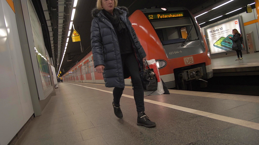 Vortex view of underground train departing in Metro, Munich, Bavaria, Germany, Europe