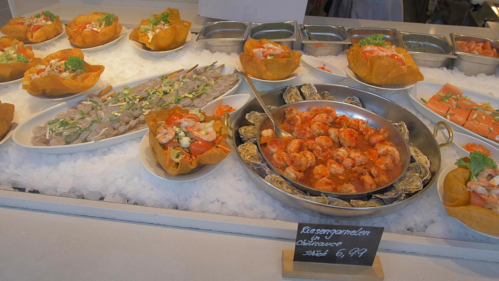 Seafood in fish market in Victuals Market, Munich, Bavaria, Germany, Europe