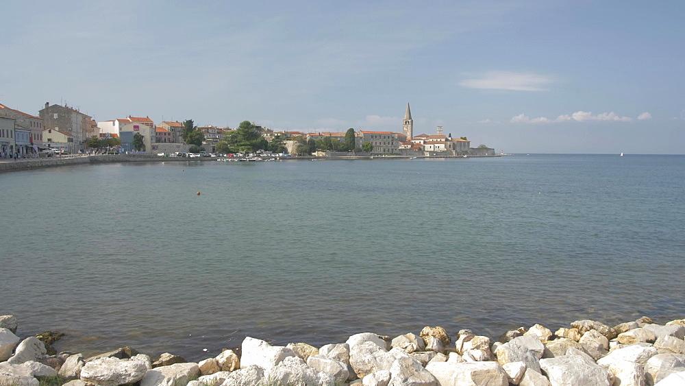 Harbour seat and the promenade at the harbour of Porec, Istra, Adriatic Sea, Croatia, Europe