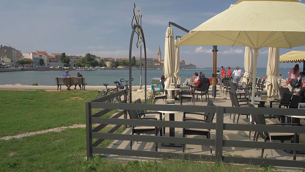 Town and the promenade at the harbour of Porec, Istra, Adriatic Sea, Croatia, Europe