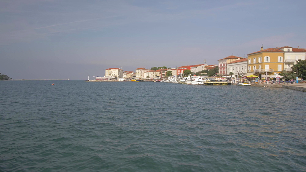 Harbour boats and the promenade,  Porec, Istra, Adriatic Sea, Croatia, Europe
