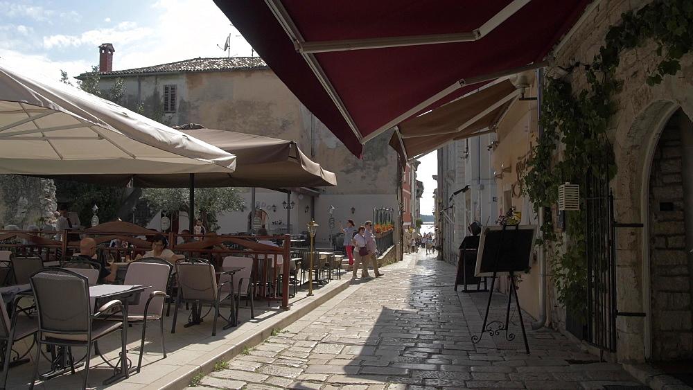 Restaurant in the Old Town of Porec, Istra, Adriatic Sea, Croatia, Europe