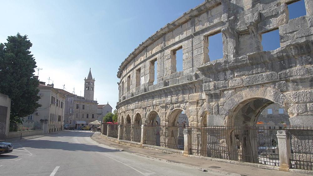The Amphitheatre against blue sky, Pula, Istria County, Croatia, Adriatic, Europe