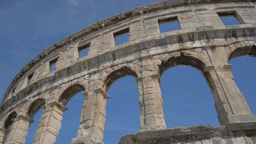 The Amphitheatre against blue sky, Pula, Istria County, Croatia, Adriatic, Europe