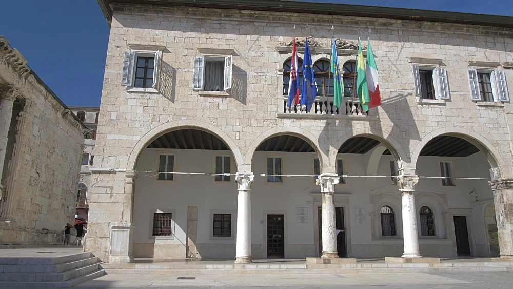 Town Hall in Forum Square in old town, Pula, Istria County, Croatia, Adriatic, Europe