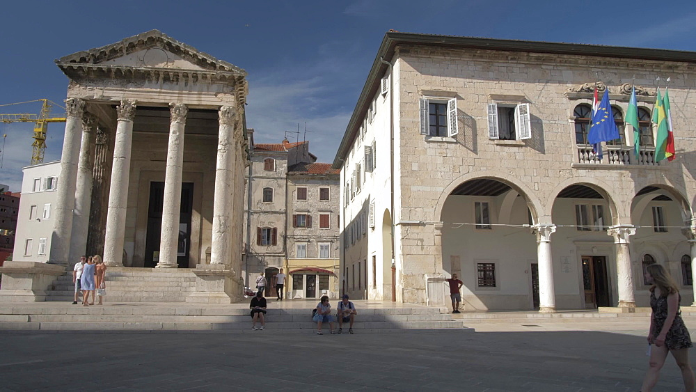 Forum Square from Town Hall archways in old town, Pula, Istria County, Croatia, Adriatic, Europe