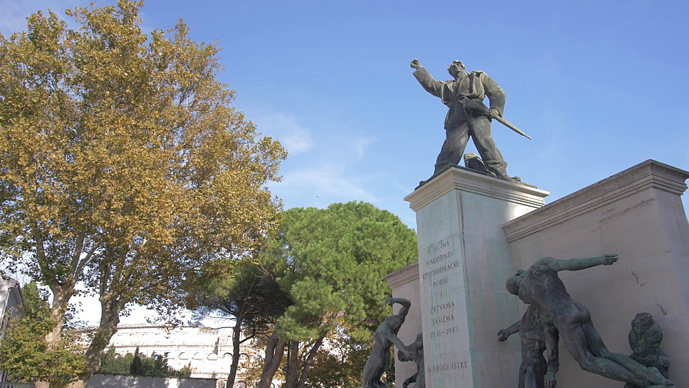 Memorial sculptures near harbour, Pula, Istria County, Croatia, Adriatic, Europe