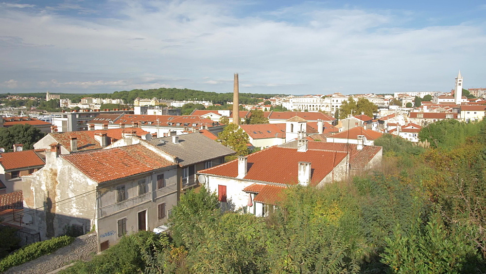 City from the walls of the Venetian Fortress, Pula, Istria County, Croatia, Adriatic, Europe
