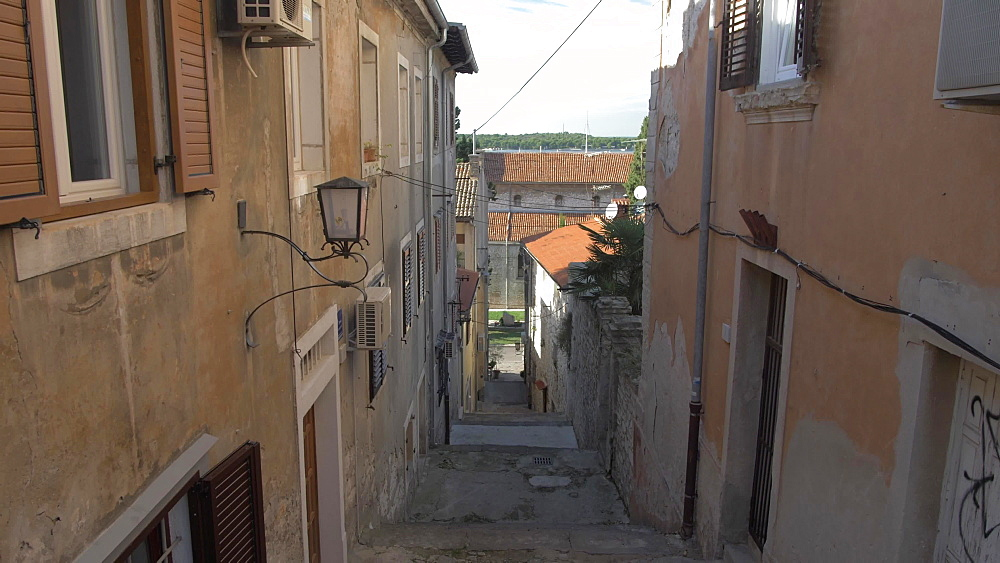 Narrow street in old town, Pula, Istria County, Croatia, Adriatic, Europe
