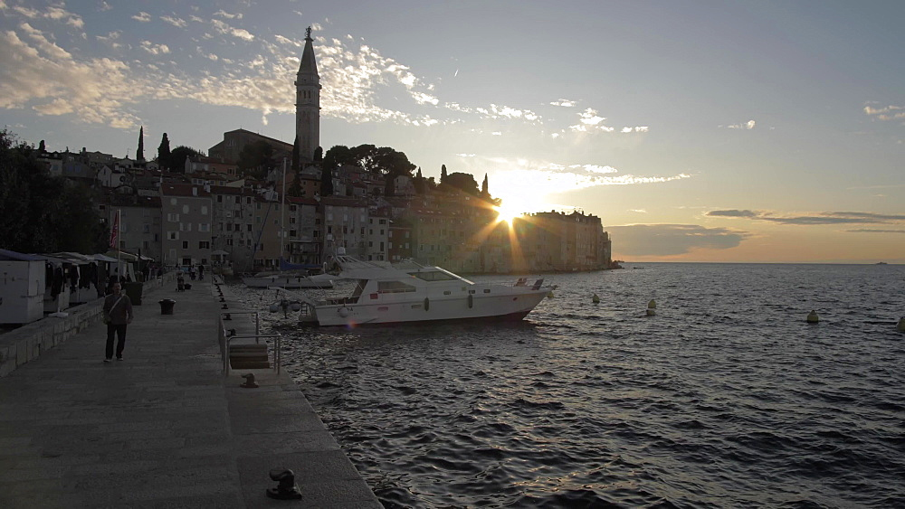 Harbour, Adriatic Sea and the old town at sunset, Rovinj, Istria County, Croatia, Europe