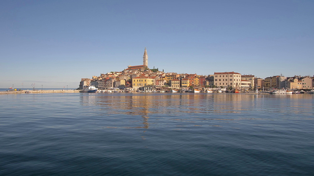 View approaching Rovinj on the Adriatic Sea by boat, Rovinj, Istria County, Croatia, Europe