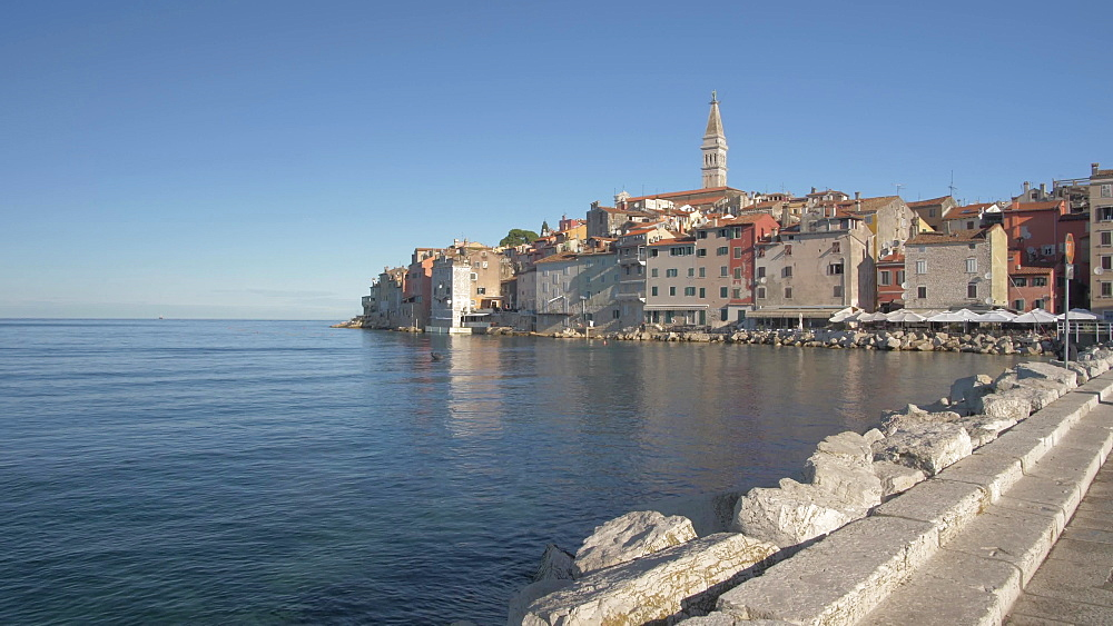 Harbour and Cathedral of St. Euphemia in the old town on a sunny day, Rovinj, Istria County, Croatia, Europe