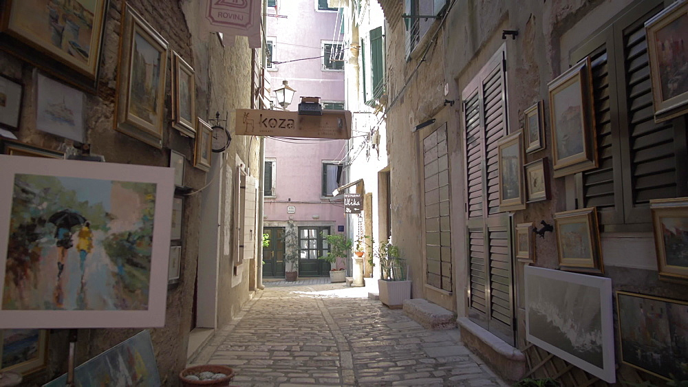 Cobbled street in the old town, Rovinj, Istria County, Croatia, Europe
