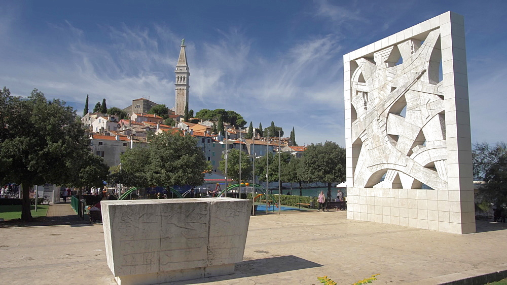 Memorial and Cathedral of St. Euphemia in the old town on sunny day, Rovinj, Istria County, Croatia, Europe