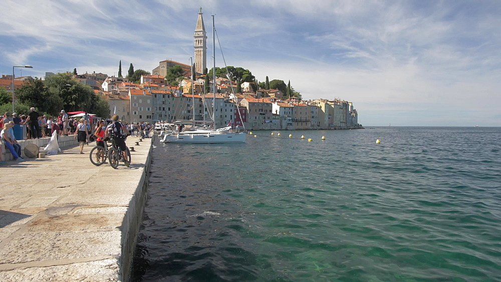 Harbour and Cathedral of St. Euphemia in the old town on sunny day, Rovinj, Istria County, Croatia, Europe