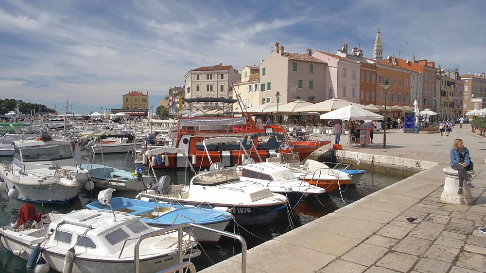 Harbour in the old town on sunny day, Rovinj, Istria County, Croatia, Europe
