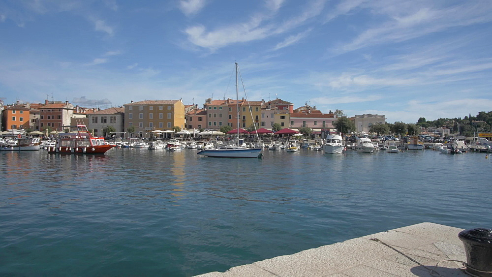 Restaurants and harbour in the old town on sunny day, Rovinj, Istria County, Croatia, Europe
