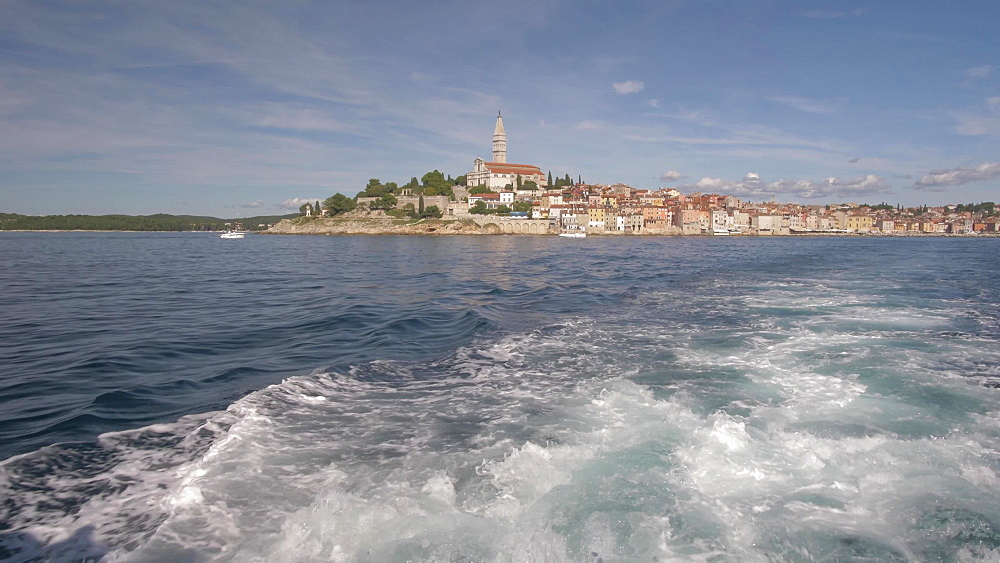 Cathedral of St. Euphemia and the old town on sunny day, Rovinj, Istria County, Croatia, Europe