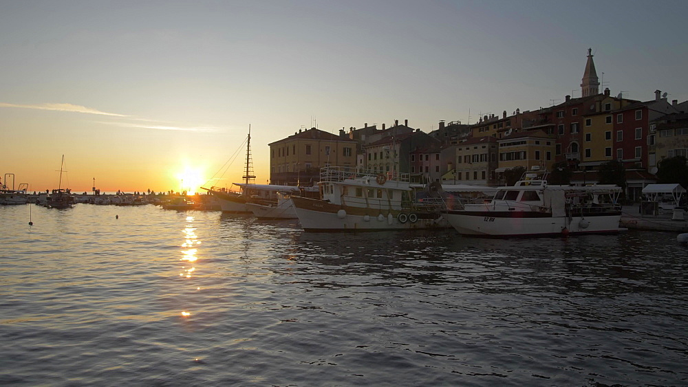 Harbour and Cathedral of St. Euphemia in the old town at sunset, Rovinj, Istria County, Croatia, Europe