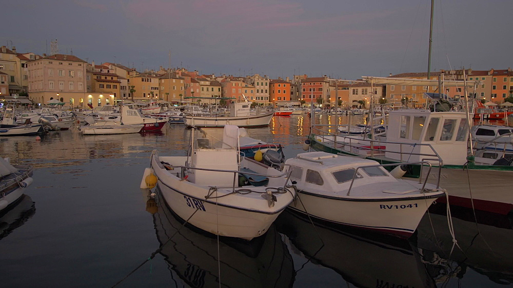 Harbour in the old town at dusk, Rovinj, Istria County, Croatia, Europe