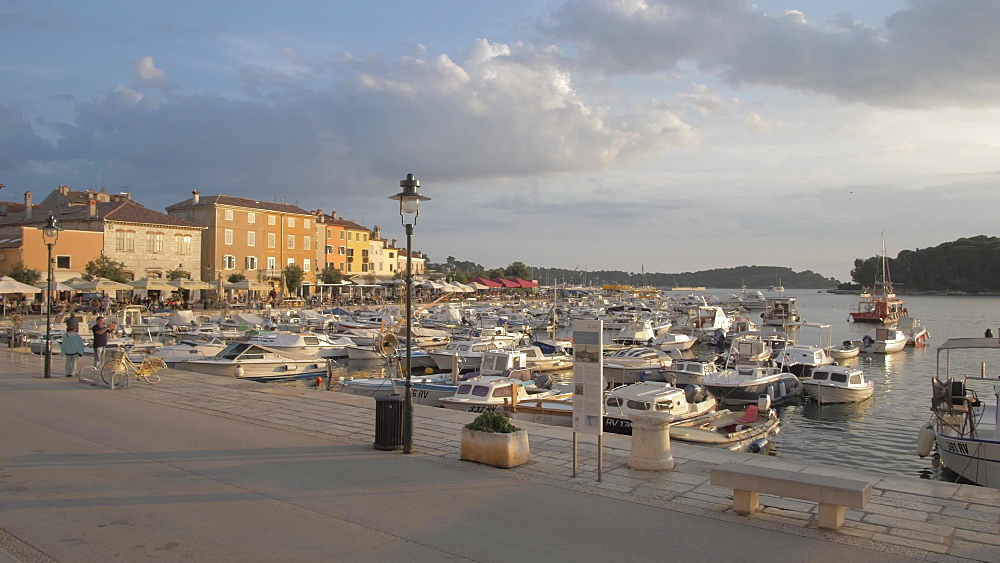 Harbour cafe in the old town at sunset, Rovinj, Istria County, Croatia, Europe