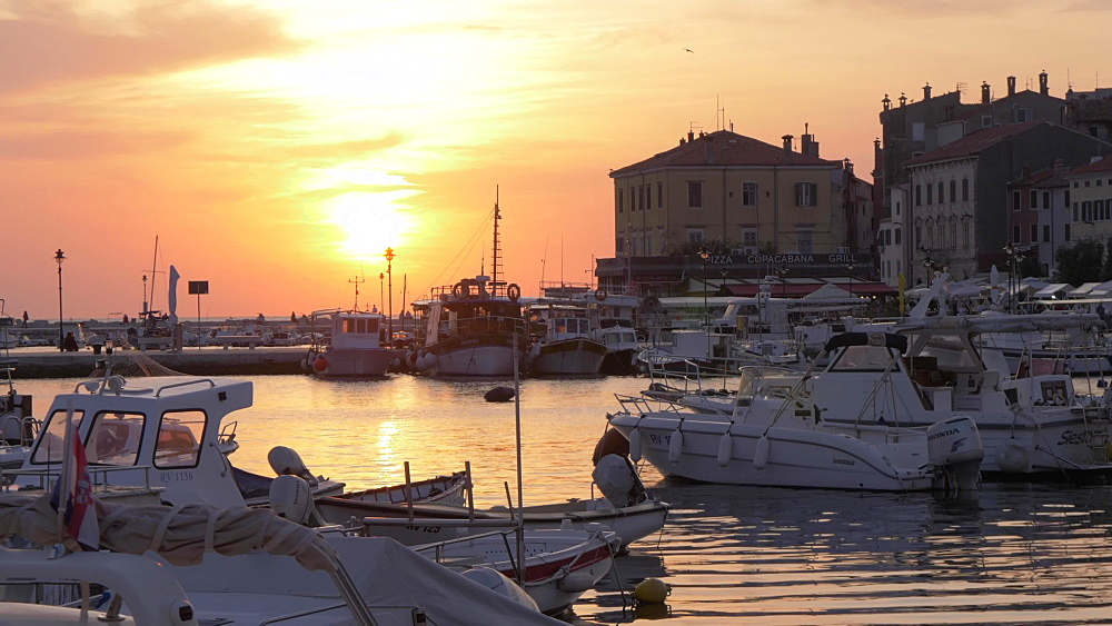 Harbour boats in the old town at sunset, Rovinj, Istria County, Croatia, Europe