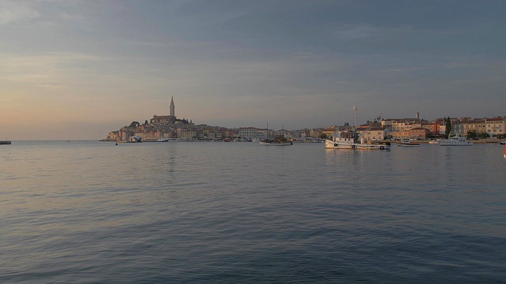 Harbour and Cathedral of St. Euphemia at sunset, Rovinj, Istria County, Croatia, Europe