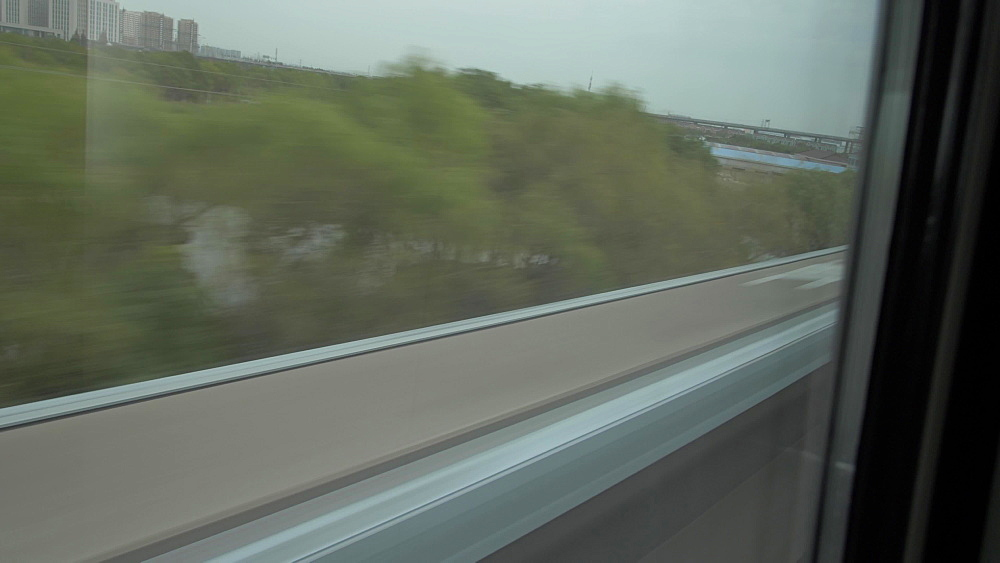 On board shot of the world?s fastest bullet train towards Shanghai Pudong International Airport, Shanghai, People?s Republic of China, Asia