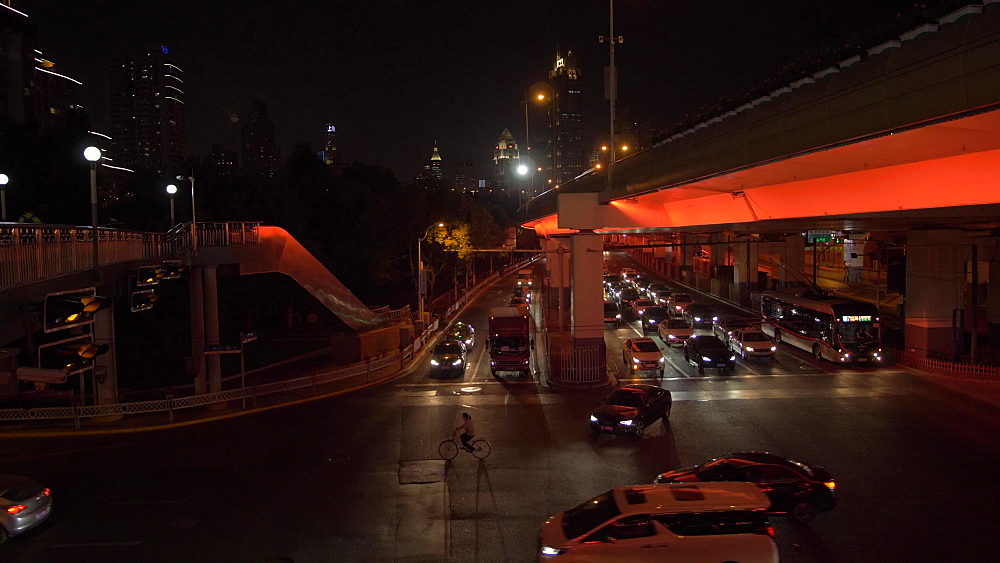 Luban Road Motorway Interchange at night, Luwan, Shanghai, People's Republic of China, Asia