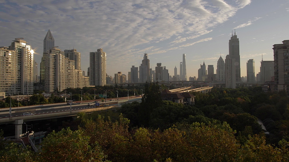 City skyline on sunny morning from Luban Road, Luwan, Shanghai, People's Republic of China, Asia