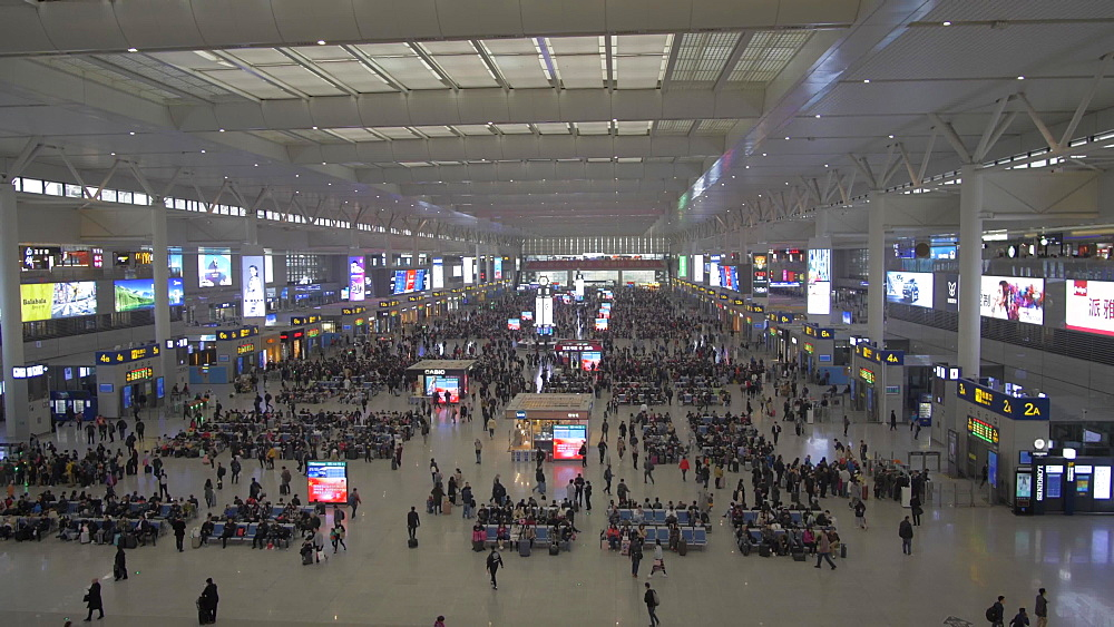Still shot of interior of Hongqiao Railway Station, Shanghai, Asia People?s Republic of China, Asia