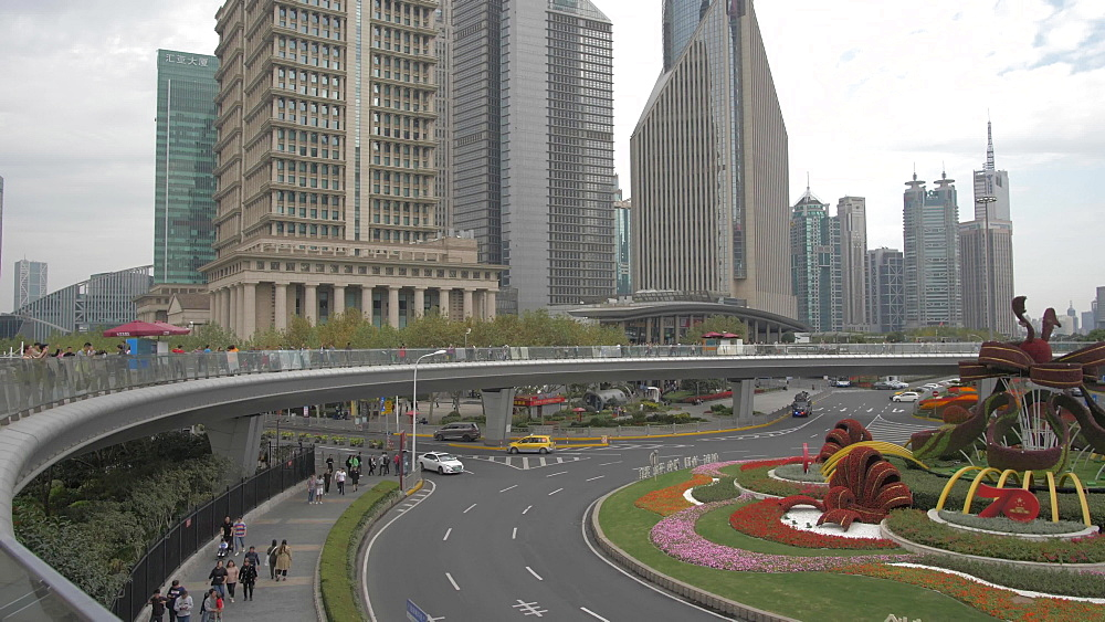 Tall buildings and The Lujiazui Traffic Circle and elevated pedestrian promenade, Shanghai, People's Republic of China, Asia