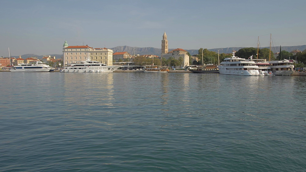 Split Harbour and Cathedral of Saint Domnius, Split, Dalmatian Coast, Croatia, Europe