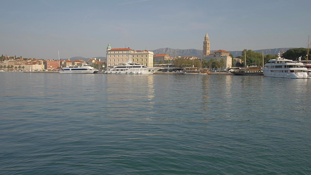 Split Harbour and Cathedral of Saint Domnius, Split, Dalmatian Coast, Croatia, Europe