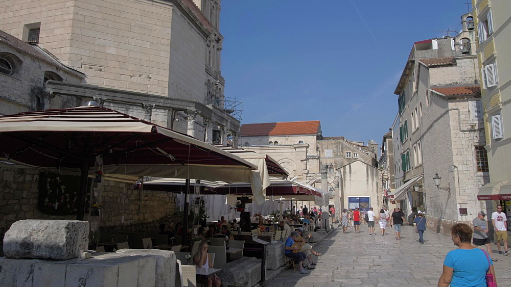 Cafes and Cathedral of Saint Domnius, Split, Dalmatian Coast, Croatia, Europe