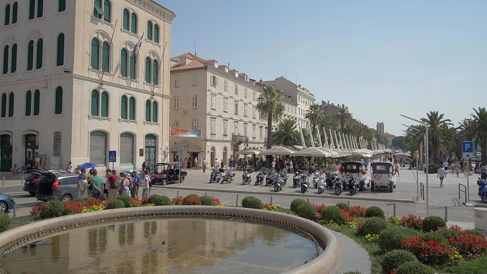 Flowers, buildings and cafes on the Promenade, Split, Dalmatian Coast, Croatia, Europe