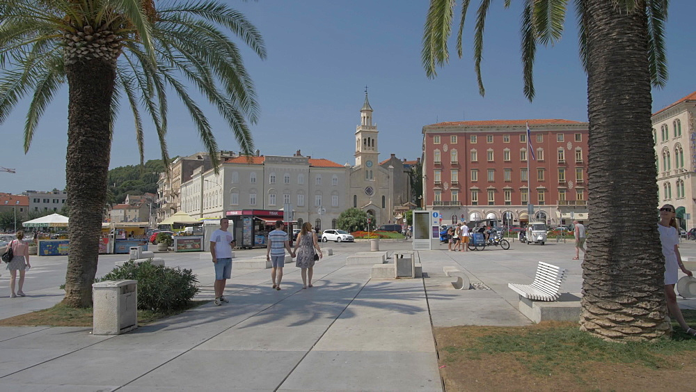 Promenade and the church and monastery of St. Frane (St. Francis), Split, Dalmatian Coast, Croatia, Europe