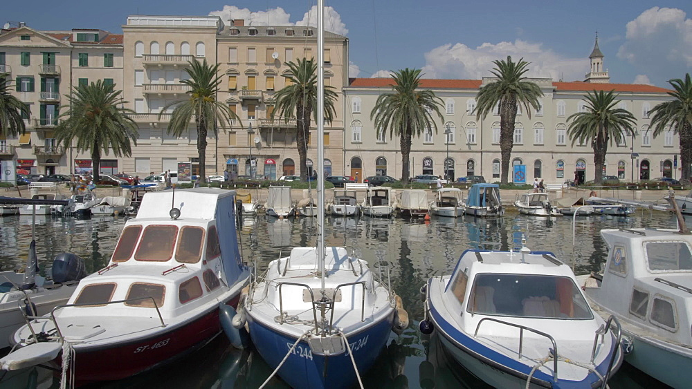 Boats and buildings in Split Harbour, Split, Dalmatian Coast, Croatia, Europe