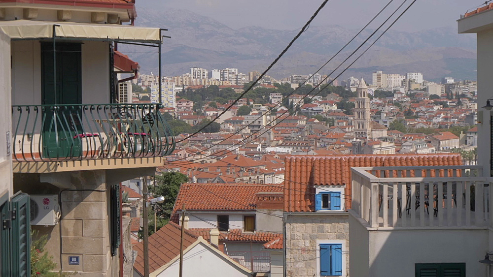 Back street and Cathedral of Saint Domnius from above the town, Split, Dalmatian Coast, Croatia, Europe