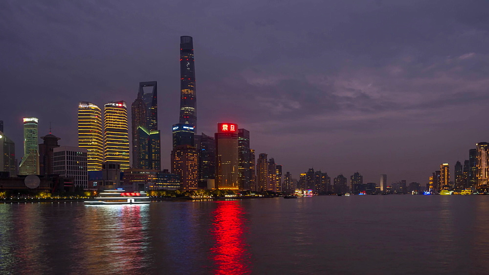 Turning Time Lapse of Pudong Skyline and Huangpu River from the Bund, Shanghai, People?s Republic of China, Asia