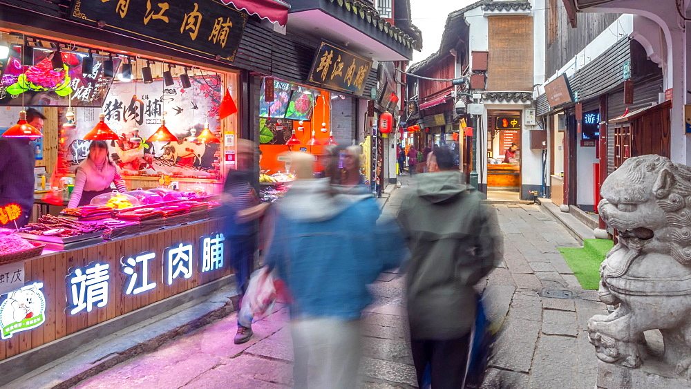 Time lapse of busy shopping street in Zhujiajiaozhen water town, Qingpu District, Shanghai, People's Republic of China, Asia