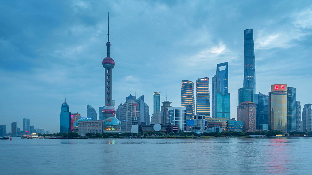 Pudong Skyline and Huangpu River from the Bund, Shanghai, People's Republic of China, Asia