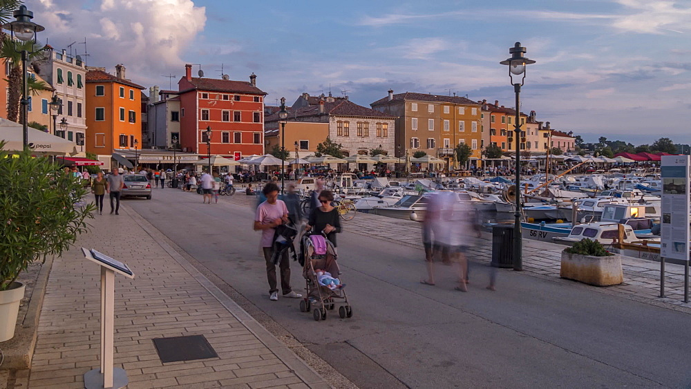 Time lapse of harbour and restaurants at sunset, Rovinj, Istria, Croatia, Adriatic, Europe