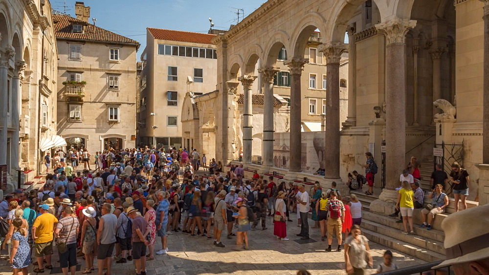 Visitors in the Diocletian's Palace, UNESCO World Heritage Site, Split, Dalmatian Coast, Croatia, Europe