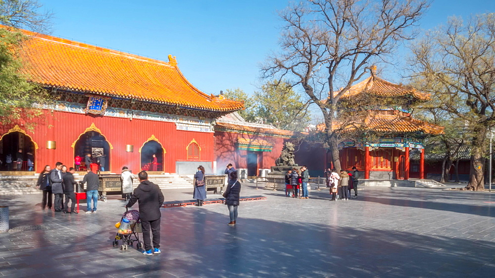 View of Tibetan Buddhist Lama Temple (Yonghe Temple), Dongcheng, Beijing, People's Republic of China, Asia