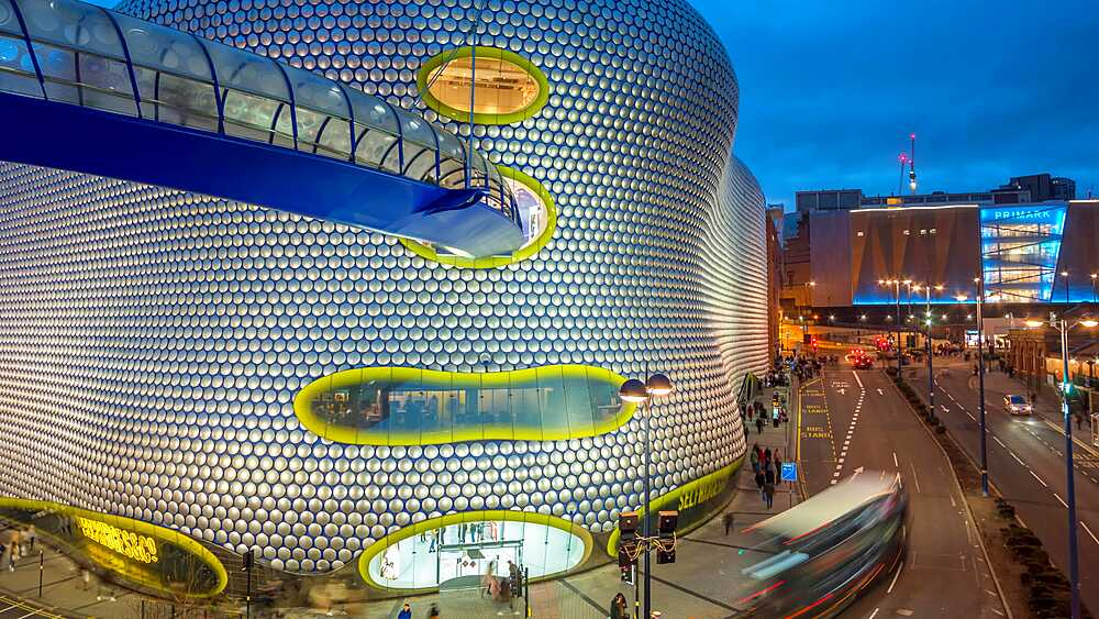 Time lapse of Selfridges at The Bull Ring at dusk, Birmingham, England, United Kingdom, Europe