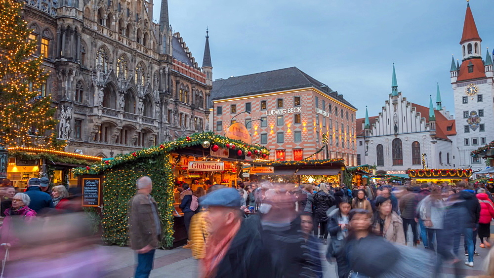 Time lapse of busy Christmas Market in Marienplatz, Munich, Bavaria, Germany, Europe